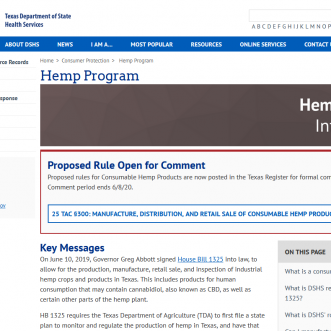 DSHS Texas draft hemp retailer rules