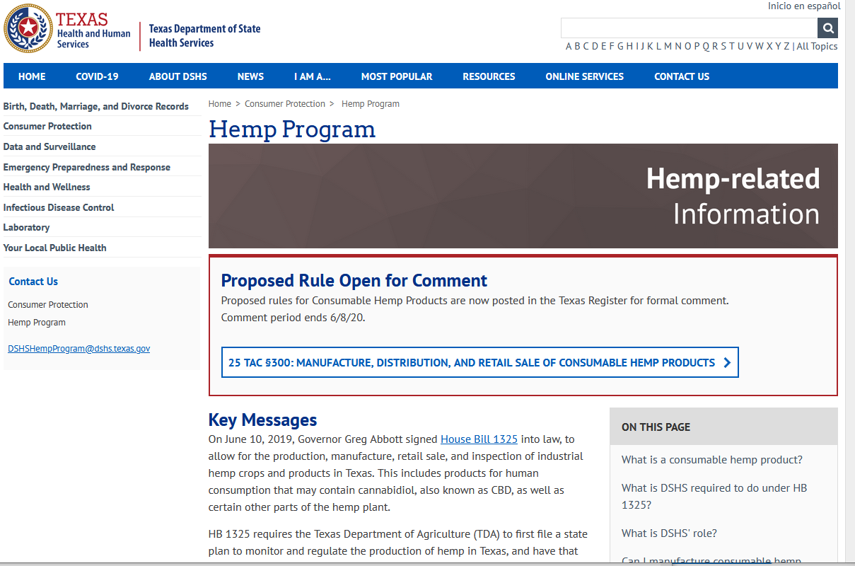 Texas DSHS Retailer Rules For Hemp Products